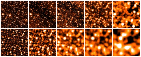 Herschel images of a 5'x5' region of the GOODS-N ranging from 3.6μm (upper left) to 500μm (bottom-right)