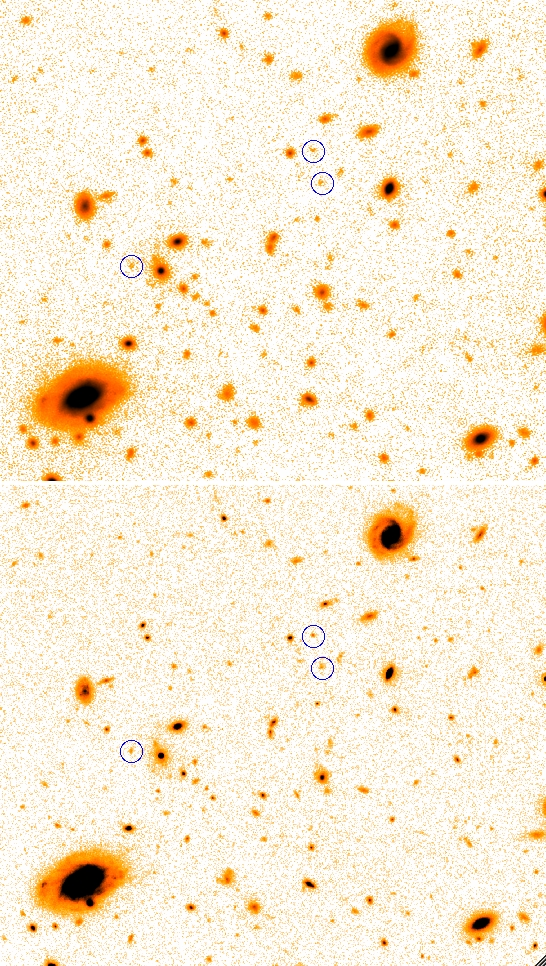 The centre of the deepest GOODS-S field as observed with Hawk-I in the K-band (upper) and with WFC3/IR in the H-band (lower). The displayed area is 1' wide. Objects encircled have H≈26 and a colour H-K≈0.5, typical of faint galaxies.