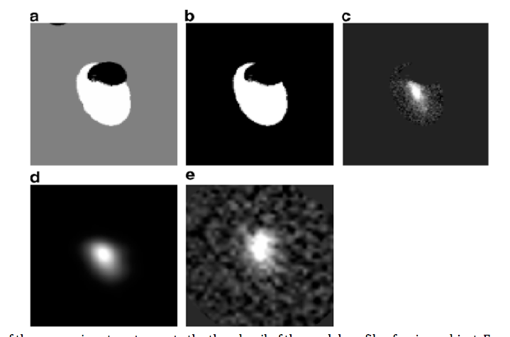 Example of the processing steps to create the thumbnail of the model profile of a given object. From left to right: (a) the segmentation of the object (white) is extracted, (b) other objects are masked, (c) the object profile is extracted from the detection image and the local background is subtracted, (d) the object profile is smoothed to the measure PSF and normalised to obtain the model profile and (e) the same object is extracted from the measure image subtracting its local background. (from De Santis et al. 2006)
