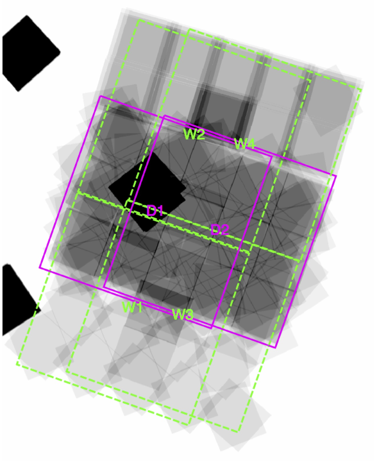Location of the Hawk-I pointings overlaid on the exposure map of the WFC3 data available within the GOODS-South field. Magenta lines show the field-of-view of pointings D1 and D2, while the green lines show pointings W1, W2, W3 and W4. The black square at the centre is the HUDF12 region (Koekemoer et al. 2013). The greyscale of the WFC3/IR images is on a linear stretch that saturates at the deepest levels of the CANDELS data; the HUDF12 is deeply oversaturated