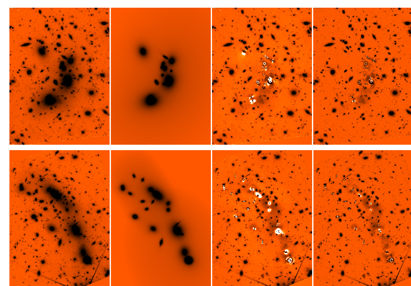 Eects of the procedure on the A2744 (top) and M0416 (bottom) H160 image. Left to right: original image, models of galaxies and ICL after STEP 4, processed image after subtraction of the models, nal processed image after median ltering (STEP 5). All images have logarithmic greyscale with the same cuts.