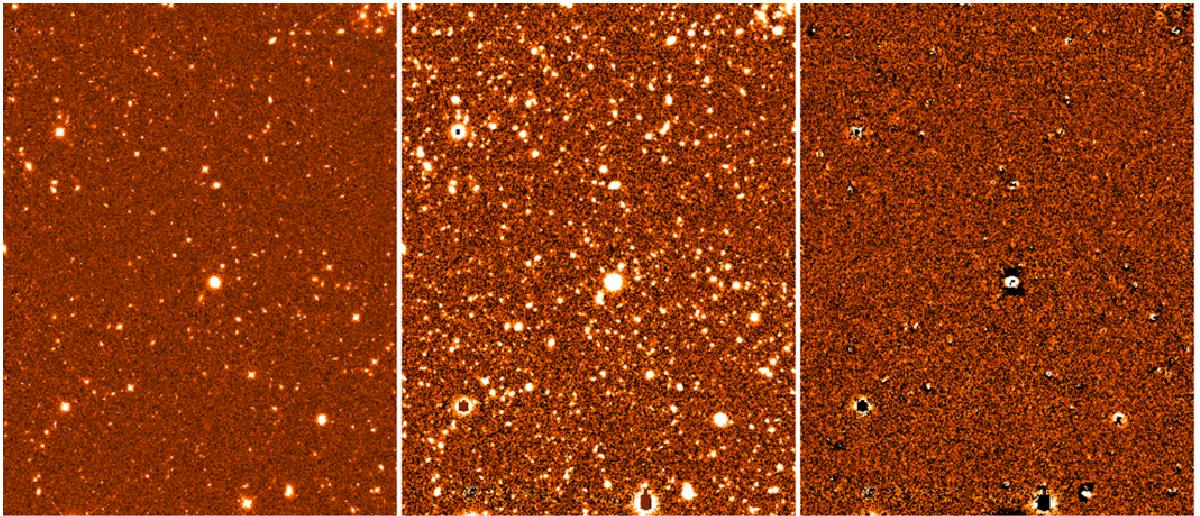 Example of the results of a standard t-phot run using analytical priors. Left to right: CANDELS COSMOS H-band (HRI), R-band (LRI) and residuals image obtained using Galfit two-component models. LRI and residual image are on the same greyscale.
